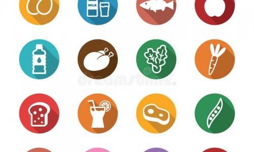 iconos-largos-de-la-sombra-de-la-comida-sana-49395274