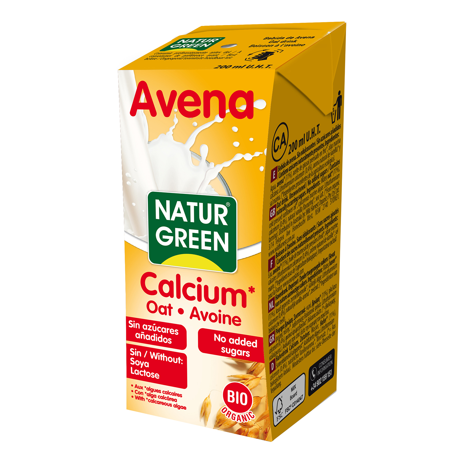 Esne AVENA CALCIO BIO 200ML NATURGREEN